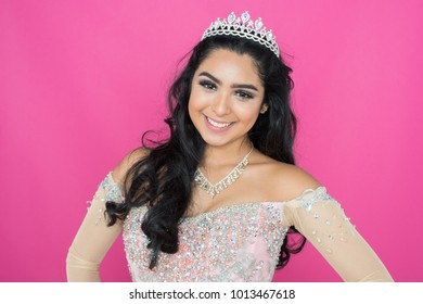 Teen hispanic girl competing in a beauty pageant