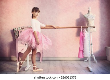 teen little  girl prepare for classical dance lesson