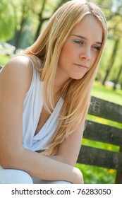 Teen person in depression outdoors