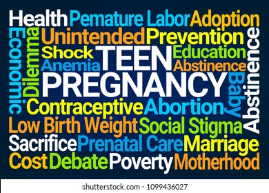 Teen Pregnancy Word Cloud on Blue Background
