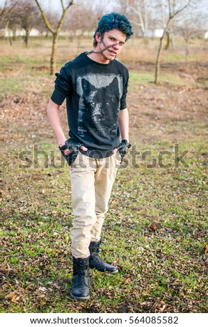 4c8ae61b4f5 Teen punk guy portrait stock photo edit now shutterstock jpg 299x470 Punk  guy