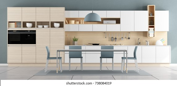 Teen room for boy with large bed wall unit and closed door - 3d rendering