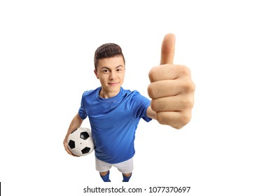 Teen soccer player making a thumb up gesture isolated on white background
