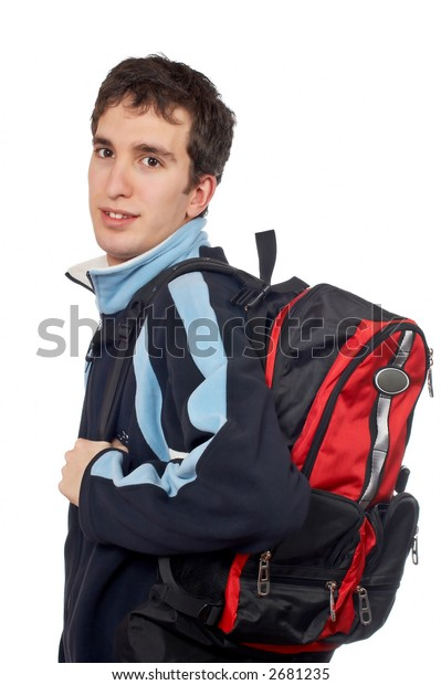 Teen student with a black backpack on white background