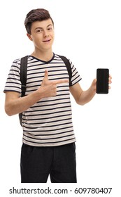 Teen student holding a phone and pointing isolated on white background
