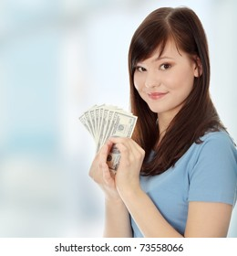 Teen woman with dollars.