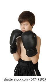 Teenage Asian boy in boxing gloves with harsh facial expression isolated on white background