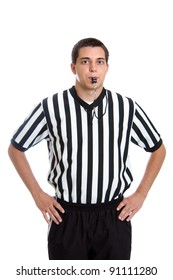 Teenage basketball referee giving sign for blocking foul isolated on white