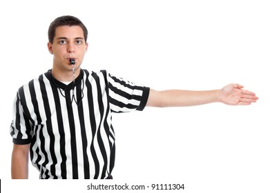 Teenage basketball referee giving sign for possession isolated on white