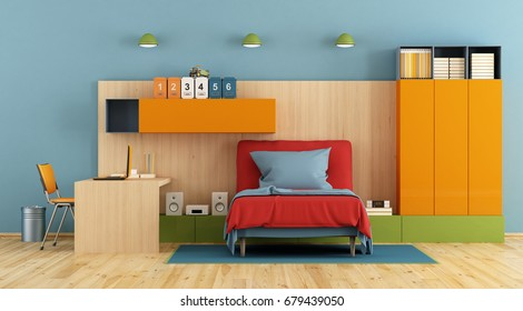 Teenage bedroom with single bed, desk,laptop and shelf on wooden panel-3d rendering