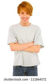 teenage boy with arms folded