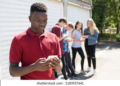 Teenage Boy Being Bullied By Text Message