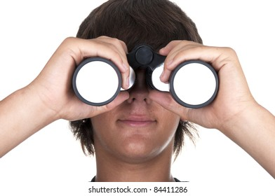 teenage boy with binoculars om white backgraund