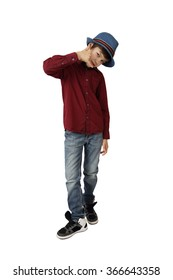Teenage boy in blue hat,  red shirt, jeans and sneakers shows phone call gesture full height isolated on white background
