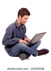 teenage boy with computer isolated in white