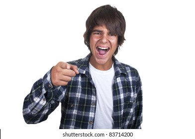 teenage boy crying on white background