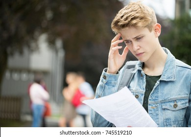 Teenage Boy Disappointed With Exam Results