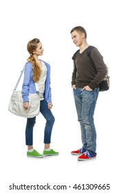 Teenage boy and girl isolated on white