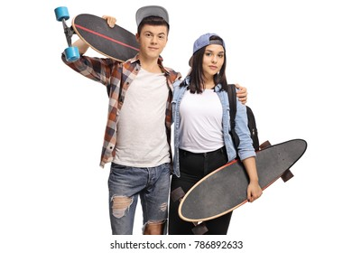 Teenage boy and a teenage girl with longboards isolated on white background