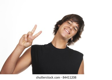 Teenage boy making the sign of victory