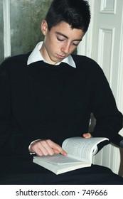 teenage boy reading