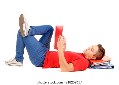 teenage boy reading books isolated in white
