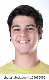 teenage boy smiling on white background