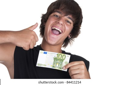 teenage boy with a ticket of 100 euros on white background
