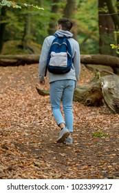 Teenage boy walking in a wood on an autumn day
