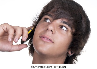 teenage boyl calling from a mobile on white background