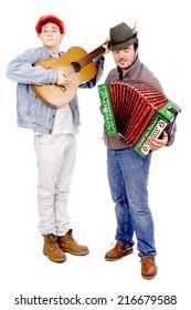 teenage boys playing music