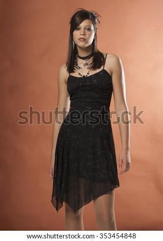 Teenage Brunette Girl Little Black Dress Stock Photo Edit Now