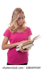 Teenage female student is reading books over white background