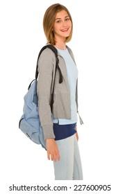 teenage girl with backpack