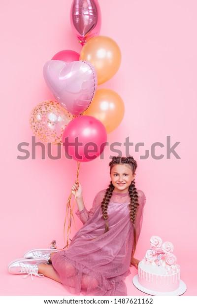 Stupendous Teenage Girl Balloons Birthday Cake Posing Stock Photo Edit Now Personalised Birthday Cards Vishlily Jamesorg