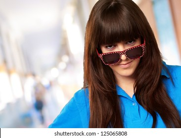 Teenage Girl With A Big Glasses, Indoor