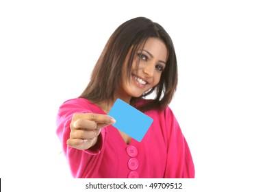 teenage girl with blank card