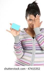 Teenage girl with blue blank credit card
