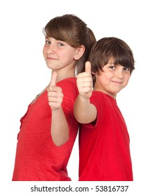 Teenage girl and boy dressed in red saying OK isolated on white background