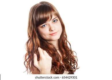 Teenage girl in brown dress. Studio shot, isolated over white background.