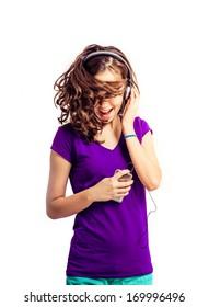 Teenage girl Dancing on white background
