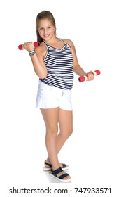 A teenage girl with dumbbells in her arms performs exercises in the fitness club. The concept of sport and a healthy lifestyle of the younger generation. Isolated over white background