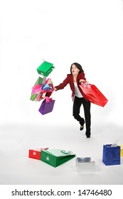 teenage girl falling down with shopping bags and boxes