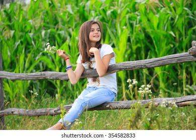 Teenage girl get fun at the farm