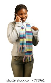 A teenage girl getting good news on the phone. With clipping path.