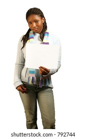 A teenage girl holding a blank sign. Isolated with clipping path.