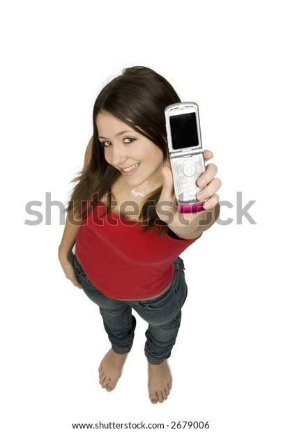 teenage girl holding cell phone