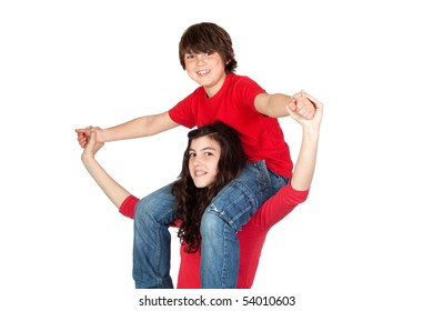 Teenage girl with little boy on her shoulders isolated on white background