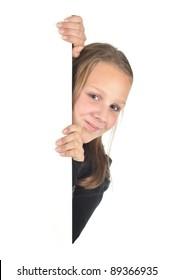 Teenage girl looking around the corner (isolated on white)