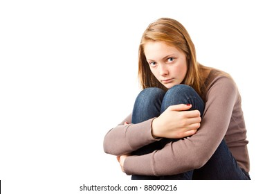 Teenage Girl Looking Worried isolated on white background